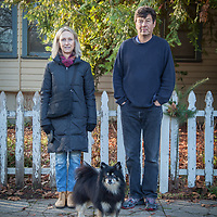 Designer Peter Ivanoff and his wife, Kali with their dog, Max, on Cedar Street in Calistoga