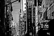 View of the top of the Chrysler Building from Mercer street in SoHo, Manhattan, New York, 2009.