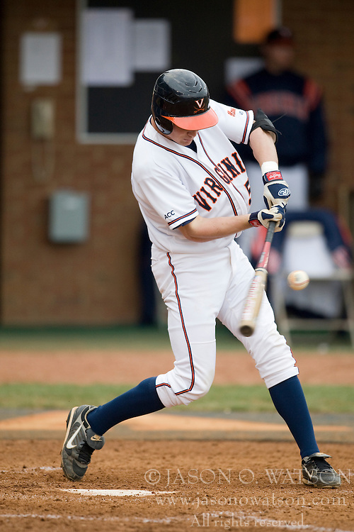 Virginia Cavaliers INF Phil Gosselin (5) makes contact on a Radford pitch.  The #16 ranked Virginia Cavaliers baseball team defeated the Radford Highlanders 8-2 at the University of Virginia's Davenport Field in Charlottesville, VA on March 11, 2008.