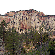 Cliffs looking North of Checkerboard Mesa Lookout in Zion National Park, Utah.