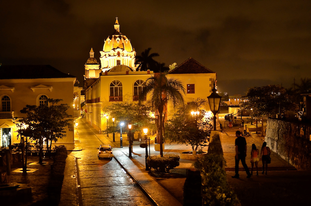 The historic center in Cartagena, Colombia at night.  This coastal city boasts many bars and discotecs where foreign tourists can drink, dance, and legally pick up prostitutes. A sex scandal erupted recently when secret service agents were found bringing prostitutes to their hotel rooms while in Cartagena preparing for President Barack Obama's arrival to the Summit of the Americas