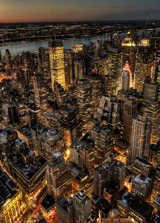 View of Manhattan skyscrapers at night from Empire State building