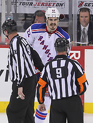 May 21, 2012; Newark, NJ, USA; New York Rangers center Brian Boyle (22) argues his holding call during the first period in game four of the 2012 Eastern Conference Finals at the Prudential Center.