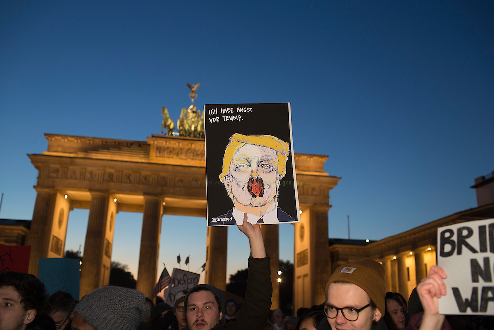 BERLIN, Brandenburg Gate, 12.11.2016 / Hundreds of people, among them many Americans, gathered in the center of the German capital to protest against President-elect Donald Trump.<br /> <br /> The sign reads: I am afraid of Trump