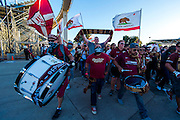 Sac Republic FC fans enter the stadium seats before the game between the Sac Republic FC and the Orange County Blues FC at Bonney Field, Saturday Apr 30, 2016.<br /> photo by Brian Baer