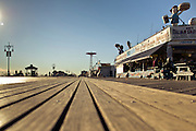 View of Coney Island's boardwalk from the ground, Brooklyn, New York, 2010.