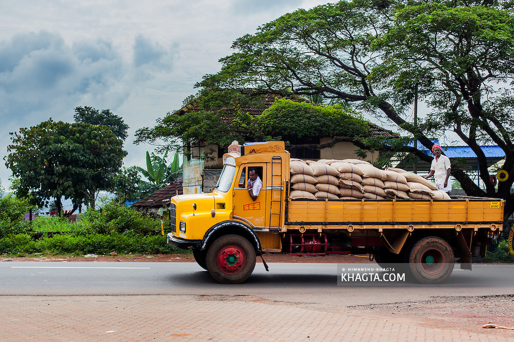 A goods carrier on the highway in Kerala, India