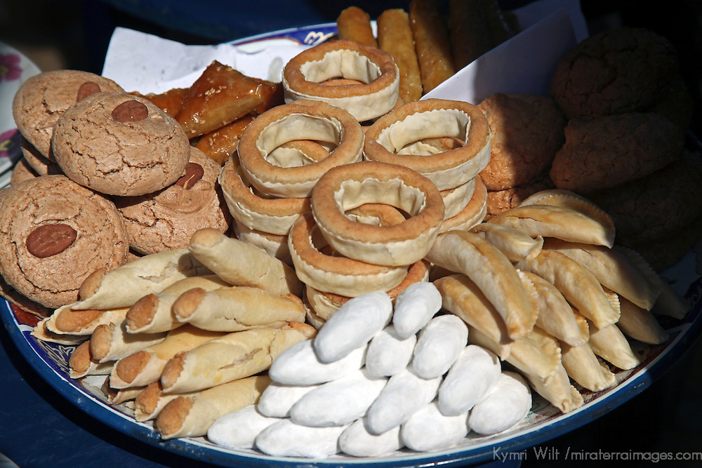 Africa, Morocco, Rabat. Traditional Morccan sweets of almond paste cookies.