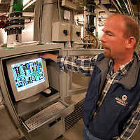 Behind the scenes: machinery, computers, filters and all technology that makes an aquarium happen ( tank salt water flow infraestructure pump pipes engineer job specialist expert.Monterey Bay Aquarium California United States.© KIKE CALVO - V&W.( zoo captivity education cannery row environmental awareness marine underwater sea exploration research scientific science exhibit display interpretation natural history