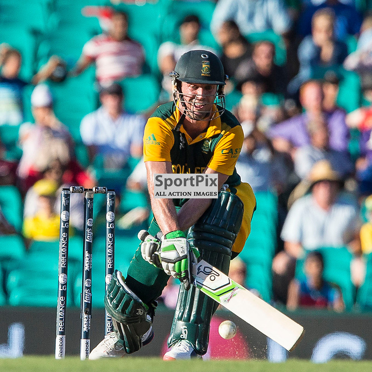 ICC Cricket World Cup 2015 Tournament Match, South Africa v West Indies, Sydney Cricket Ground; 27th February 2015<br /> A reverse shot by South Africa&rsquo;s AB De Villiers