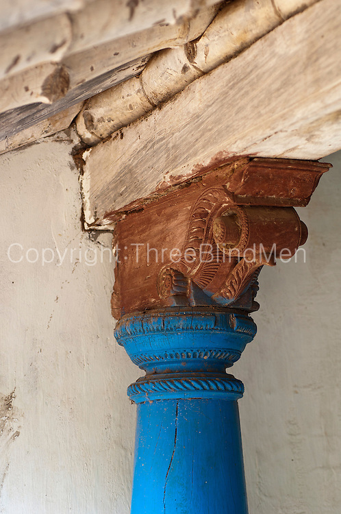 """Pillar and capitol detail..Tharangambadi (or Tranquebar) is a town in Nagapattinam district in the Indian state of Tamil .Nadu, 15 km north of Karaikal, near the mouth of a distributary of the Kaveri River. Its name means """"place of the singing waves"""". It was a Danish colony from 1620 to 1845, and in Danish and some other European languages it is known as """"Trankebar"""" or """"Tranquebar""""."""