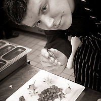 Portrait of Chef Adam Horton at Raphael restaurant in Studio City. Well known for his detail of presentation and his unique use of flavors from around the world.