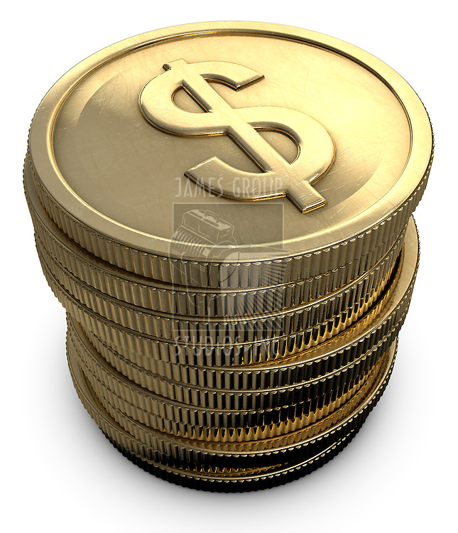 Stacked coins with a dollar symbol on a white background
