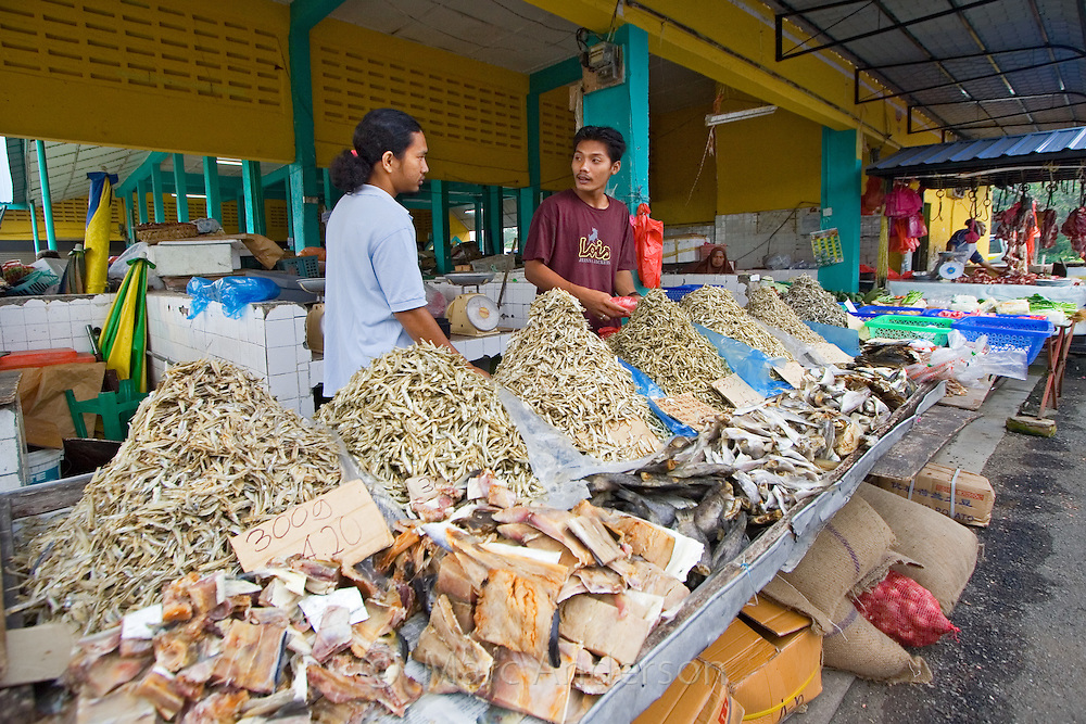 A stall selling dried fish at a food market in Malaysia..
