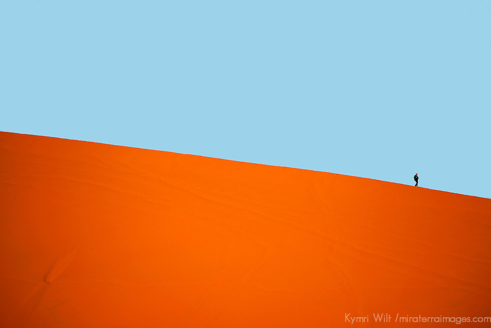 Africa, Namibia, Sossusvlei. A lone person walks the crest of a red sand dune in Sossusvlei.