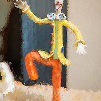 Figurine of a laughing clown at a flea market