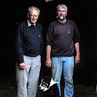 UK. Cornwall. George Trenouth & his son Richard at Trevone farm, Padstow, Cornwall.Photo©Steve Forrest/Workers' Photos