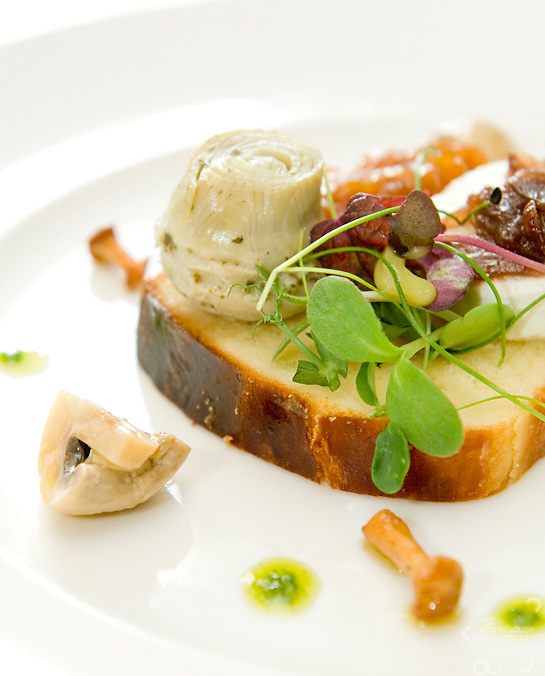 Artichoke, Mushroom salad with goats cheese for restaurant marketing and website.