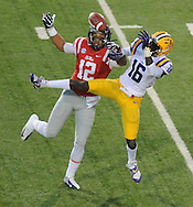 Mississippi wide receiver Donte Moncrief (12) is unable to catc h a pass as LSU's Tre'Davious White (16) defends at Vaught-Hemingway Stadium in Oxford, Miss. on Saturday, October 19, 2013. (AP Photo/Oxford Eagle, Bruce Newman)