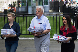 Ministry of Defence, Westminster, July 18th 2016. A petition with over 40,000 signatures is handed in to the Ministry of Defence, calling for the abandonment of the Trident Nuclear deterrent programme ahead of a debate on the issue in Parliament. PICTURED: Kate Hudson from CND, left, Kent Bruce from CND and SNP MP Margaret Ferrier arrive at the Ministry of Defence with the petition.