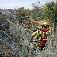 Firefighters - and this photographer - are doused with a blue fire retardant from an airplane drop while working a August grass fire in the hills above Hillside Junior High.