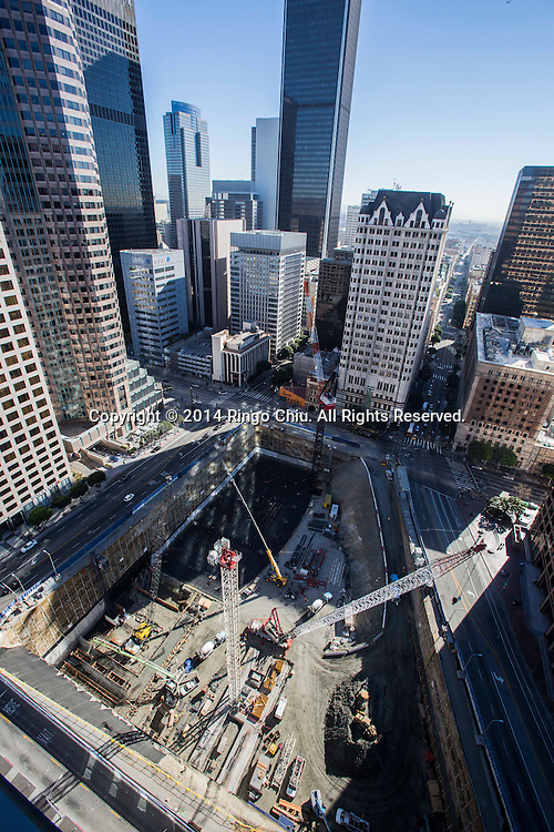 The Wilshire Grand project site is seen from the roof of Wedbush Building. The project will attempt to set a new Guinness World Record in February when it kicks off construction with the largest continuous concrete pour in history. (Photo by Ringo Chiu/PHOTOFORMULA.com)