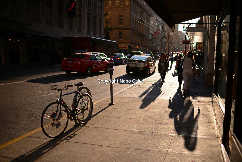 Street of San Francisco at sunset, with a curious light that resembles and old picture.