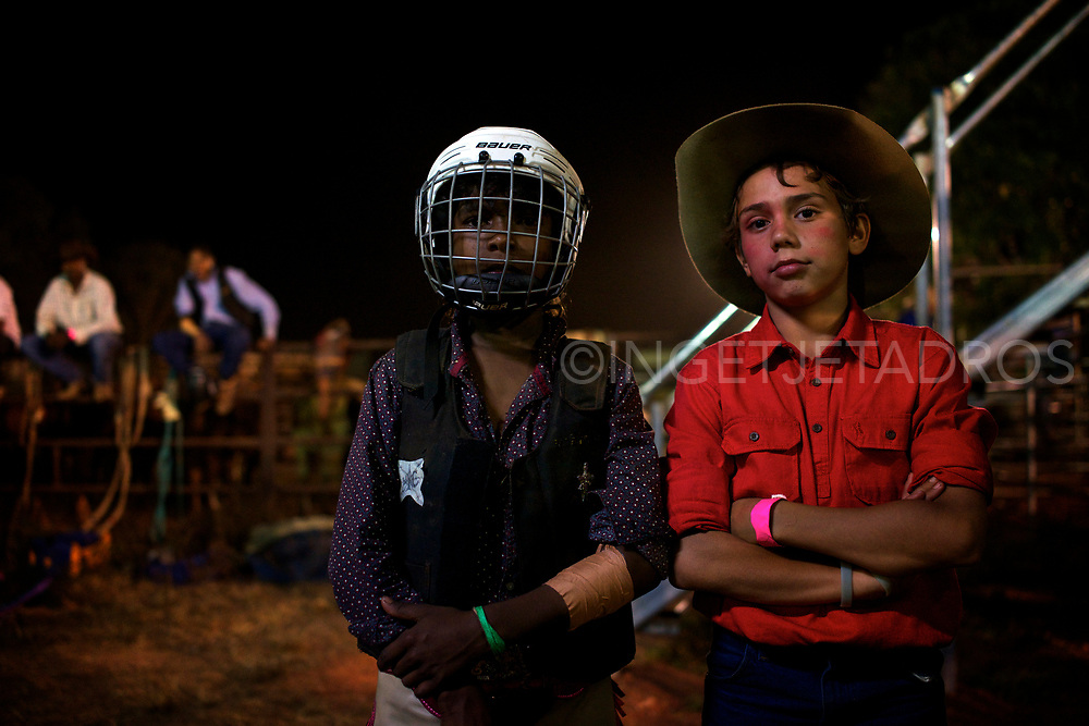 Indigenous and non indigenous compete during Broome's Rodeo which is action packed with open barrels, poddy ride, steer ride, steer wrestling, saddle bronco and bull ride. Broome, WA