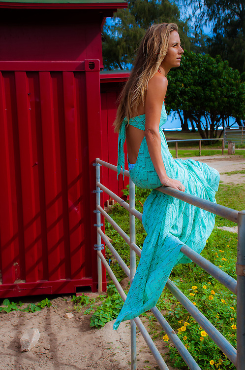 Tiare Hawaii Lotus Maxi Dress In Sumba Print<br /> Model Andrea Hannemann<br /> www.tiarehawaii.com<br /> Fashion Photography