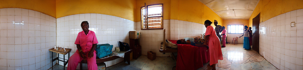 Pregnant women attend antenatal care at the newly renovated clinic, Kroo Bay, Freetown, Sierra Leone.