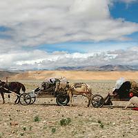 Tibetan horse cart drivers change a flat tire on a trek to Mt. Everest. Tibet, 8/9/05.