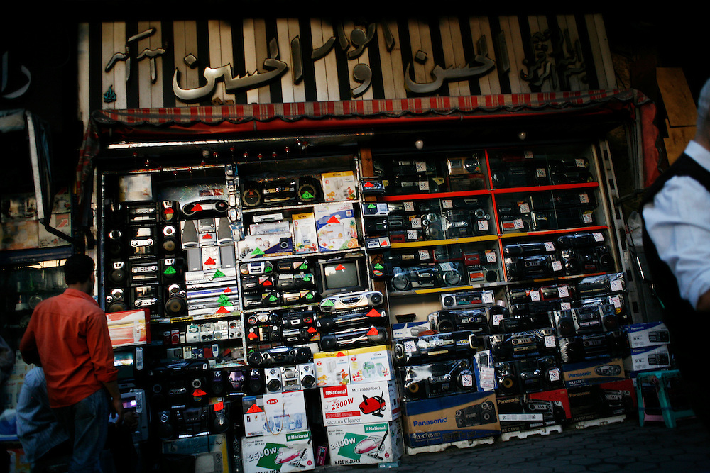 Radios, televisions and other electronics sold at a Cairo shop.