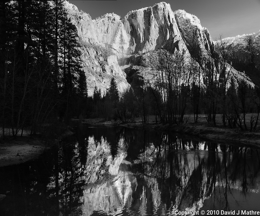 Winter Yosemite Falls Panorama. Composite of 3 images taken with a Nikon D3x and 45 mm f/2.8 PC-E lens (ISO 100, 45 mm, f/11, 1/10 sec) combined using PTGUI Pro.
