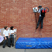 """A boy has fulfilled his dream of being Spiderman by creating a gadget to help him scale the walls of his school...Hibiki Kono, 13, (PICTURED) who is a big fan of the superhero, made the incredible climbing machine using the suction from two Tesco Value vacuum cleaners...The schoolboy then amazed his friends by using the giant suckerpads to climb the school wall during morning assembly...""""I used to dress up as Spiderman when I was younger and I love all the films so it's great to be able to climb walls like him,"""" said Hibiki...Hibiki spent five months designing and making the gadget in his design technology lessons at King's College School in Cambridge...He used two 1400 watt vacuum cleaners, bought for just £14.98 each from Tesco and attached square wooden pads to the nozzles...When he presses the suction pads on the wall they support his weight and enable him to climb just like his favourite superhero...SEE COPY CATCHLINE Boy becomes spiderman."""