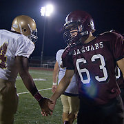 10/05/12 - Middletown, DE - Appoquinimink Football - St. Elizabeth Xavier Tadlock-Harrell (44) and Appoquinimink Matthew Minner (63) shake hands at midfield after the game Friday, Oct. 05, 2012, at Appoquinimink High School in Middletown DE. ..SAQUAN STIMPSON/Special to The News Journal.