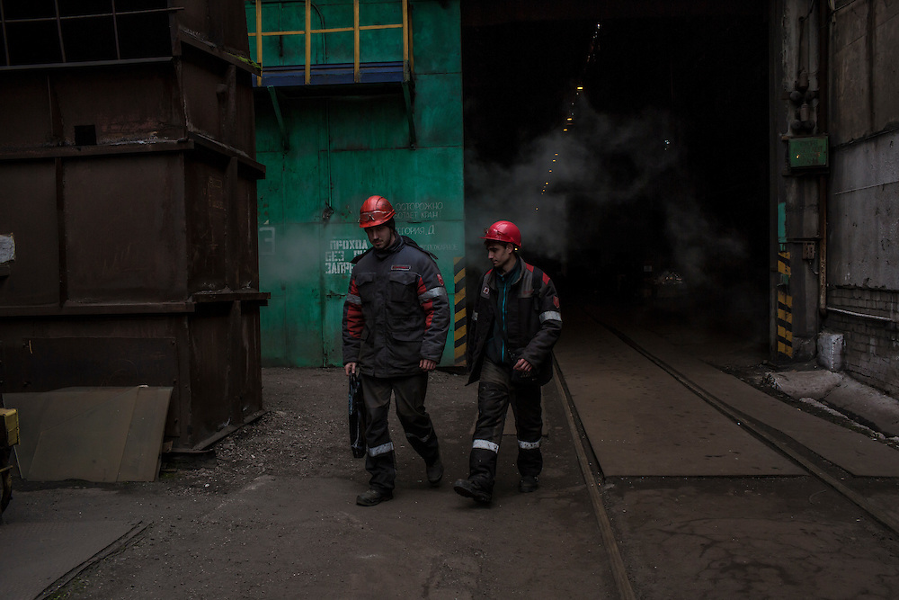 Workers at the Azovstal Iron and Steel Works on Friday, March 18, 2016 in Mariupol, Ukraine.