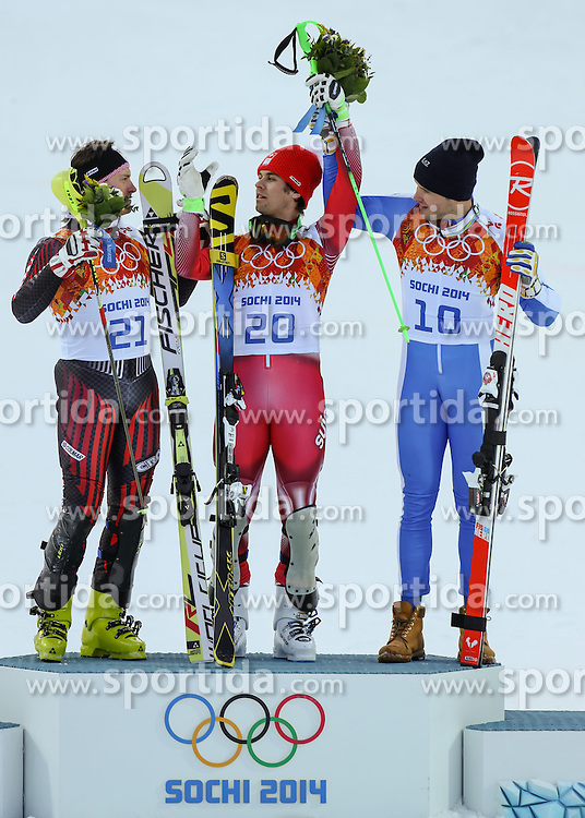 14.02.2014, Rosa Khutor Alpine Center, Krasnaya Polyana, RUS, Sochi, 2014, Super- Kombination, Herren, Flower Ceremonie, im Bild Silbermedaillen Gewinner Ivica Kostelic (CRO), Olympia Sieger Sandro Viletta (SUI), Bronzemedaillen Gewinner Christof Innerhofer (ITA) // Silver Medalist Ivica Kostelic of Croatia, Olympic Champion Sandro Viletta of Switzerland and Bronze Medalist Christof Innerhofer of Italy during the Flower Ceremony of the mens Super Combined of the Olympic Winter Games 'Sochi 2014' at the Rosa Khutor Alpine Center, Krasnaya Polyana, Russia on 2014/02/14. EXPA Pictures &copy; 2014, PhotoCredit: EXPA/ Minkoff<br /> <br /> *****ATTENTION - OUT of GER*****