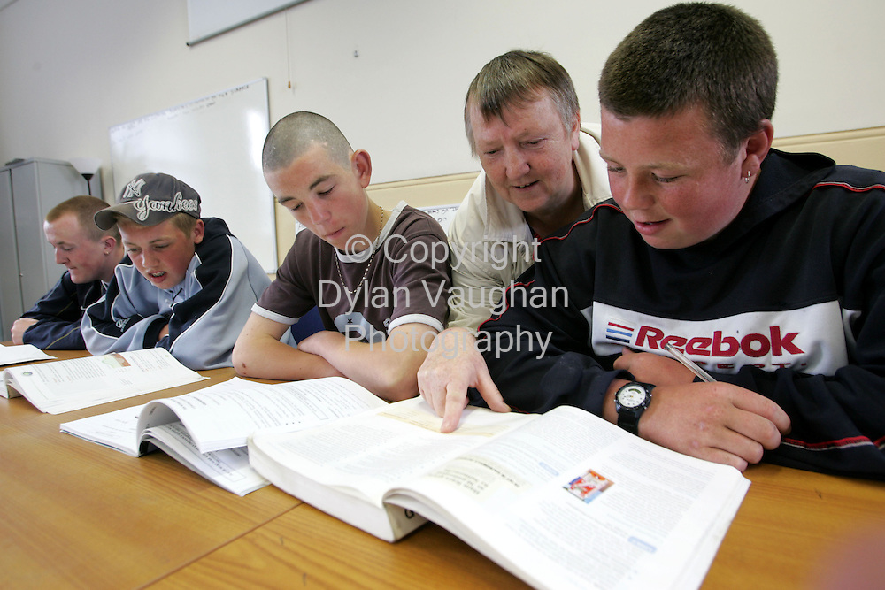 21/5/2004.Nuala Jackson pictured at the XLC Schoolin Waterford with students from left Jason Ryan, Dean Duggan, Liam O Mara and Stephen McLawrence..Picture Dylan Vaughan