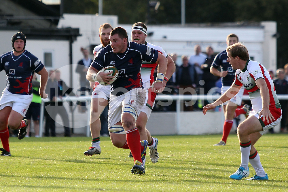 James Phillips in action during the Green King IPA Championship match between London Scottish &amp; Plymouth Albion at Richmond, Greater London on Sunday 5th October 2014<br /> <br /> Photo: Ken Sparks | UK Sports Pics Ltd<br /> London Scottish v Plymouth Albion, Green King IPA Championship,5th October 2014<br /> <br /> &copy; UK Sports Pics Ltd. FA Accredited. Football League Licence No:  FL14/15/P5700.Football Conference Licence No: PCONF 051/14 Tel +44(0)7968 045353. email ken@uksportspics.co.uk, 7 Leslie Park Road, East Croydon, Surrey CR0 6TN. Credit UK Sports Pics Ltd
