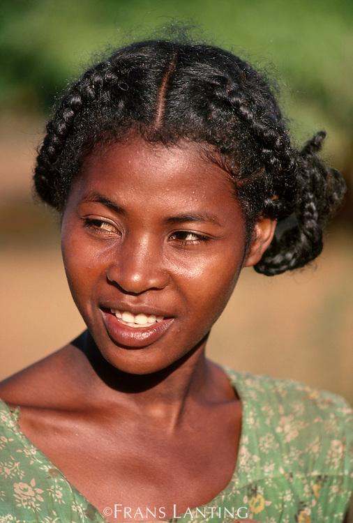 Mahafaly girl smiling, Southern Madagascar