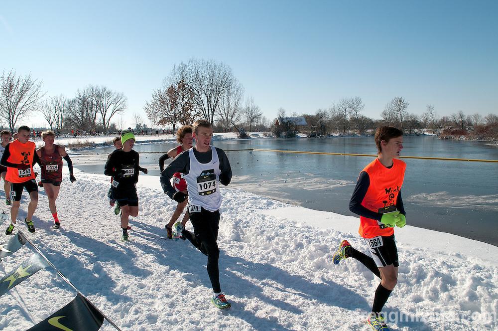 Michael Giles and Hunter Schiess, NXN Northwest boys varsity race #1, November 15, 2014 at Eagle Island State Park, Eagle, Idaho.