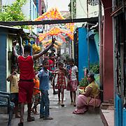 Off Jampettah street - life down a small street.