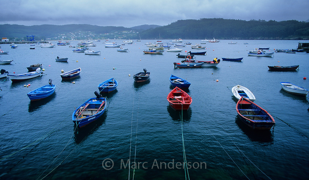 Blue & red boats in Cedeira Harbour, Galicia, Spain