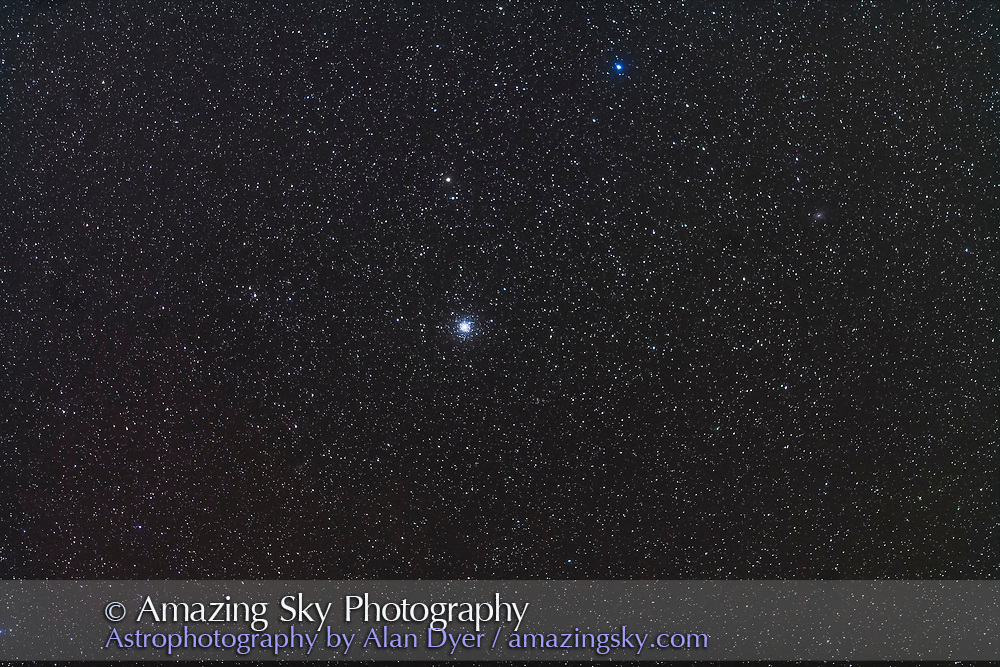 NGC 6752, the large bright globular cluster in Pavo, in a wide-field shot that simulates a binocular field of view. The galaxy NGC 6744 is just visible at right. <br /> <br /> This is a stack of 5 x 2-minute exposures with the 200mm lens and Canon 5D MkII at ISO 1600. Tracked on the AP 400 mount and shot from Tibuc Gardens Cottage in Australia.