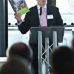 London, UK - 9 december 2013: Brian Weatherley addresses the audience at an HGV/cycle safety event at City Hall attended by construction and transport trade associations, property developers, contractors and vehicle manufacturers.