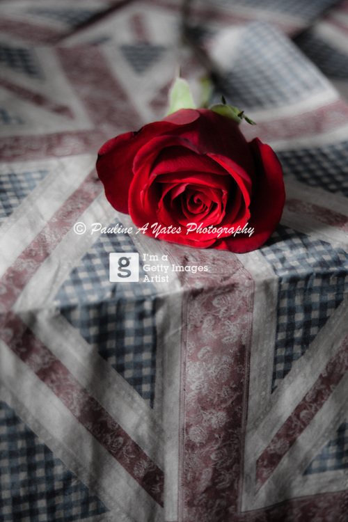 Taken on the day of the Diamond Jubilee of Queen Elizabeth II. A red rose, the symbol of England, resting on a Union Flag surface