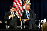 March 29, 2016 - Atlanta, Georgia: President Barack Obama visited Atlanta Tuesday to participate in a panel discussion at the 2016 National Rx Drug Abuse &amp; Heroin Summit in Downtown. <br /> <br /> The three-day summit brings together healthcare workers, community leaders, academics, politicians and healthcare professionals to work to have an impact on prescription drug abuse and heroin use. The president was on a panel moderated by Dr. Sanjay Gupta, chief medical correspondent for CNN, that included Crystal Oertle, a mother in recovery from rural Ohio, Baltimore City Health Commissioner Dr. Leana Wen, and Justin Riley, the president/CEO of Young People In Recovery. <br /> <br /> The talk, which took place in front of roughly 2,000 people at AmericasMart, was particularly interesting to hear unscripted conversation from Obama about drug addiction, his belief in treatment over law enforcement solutions, and new initiatives he favored. Obama also alluded to his own drug use and how he was &ldquo;lucky&rdquo; to not become addicted to anything but cigarettes.