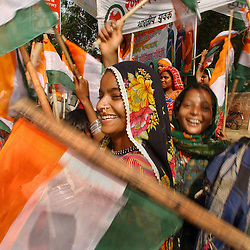 NEW DELHI,INDIA, MAY 14, 2004: Supporters of India's  Congress party celebrate in New Delhi, India May 14, 2004. India's Gandhi family came back to power on Thursday after  millions of rural voters, who felt left behind by the country's economic boom voted out the Hindu nationalist government. Prime Minister Atal Behari Vajpayee conceded defeat and resigned yesterday. (Ami Vitale)