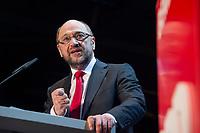 22 MAR 2017, BERLIN/GERMANY:<br /> Martin Schulz, SPD Parteivorsitzender und Spitzenkandidat der SPD zur Bundestagswahl, haelt eine Rede auf dem Neumitgliedertreffen der Berliner SPD, Festsaal Kreuzberg<br /> IMAGE: 20170322-02-100<br /> KEYWORDS: Martin Schulz, speech, Kanzlerkandidat, candidate