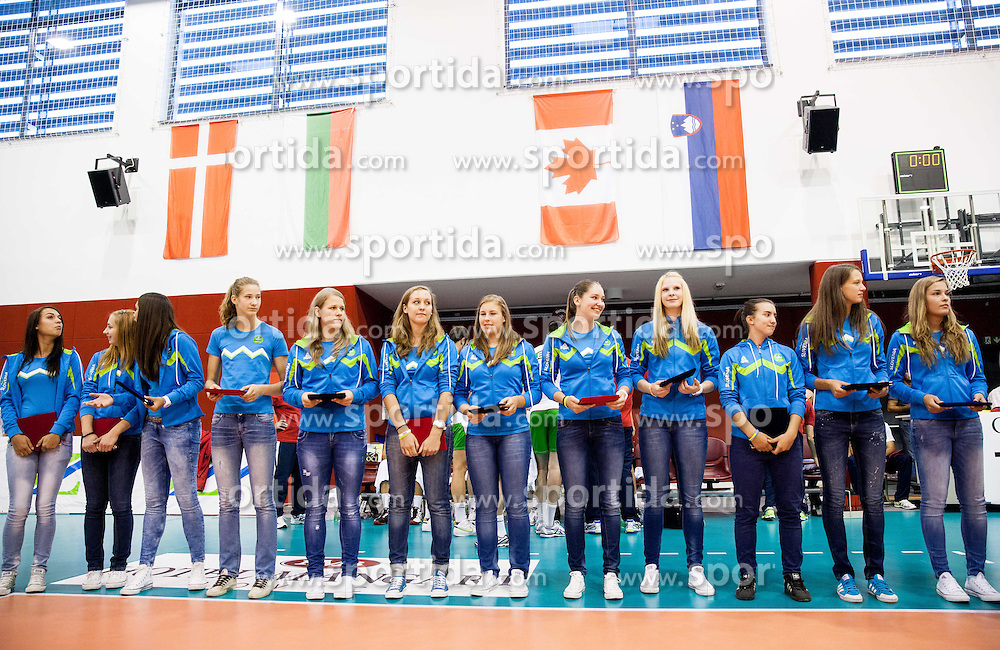 U17 Slovenia Women Volleyball team during friendly volleyball match between National teams of Slovenia and Bulgaria on August 29, 2013 in Hoce, Slovenia. Slovenia defeated Bulgaria 3-1. (Photo by Vid Ponikvar / Sportida.com)
